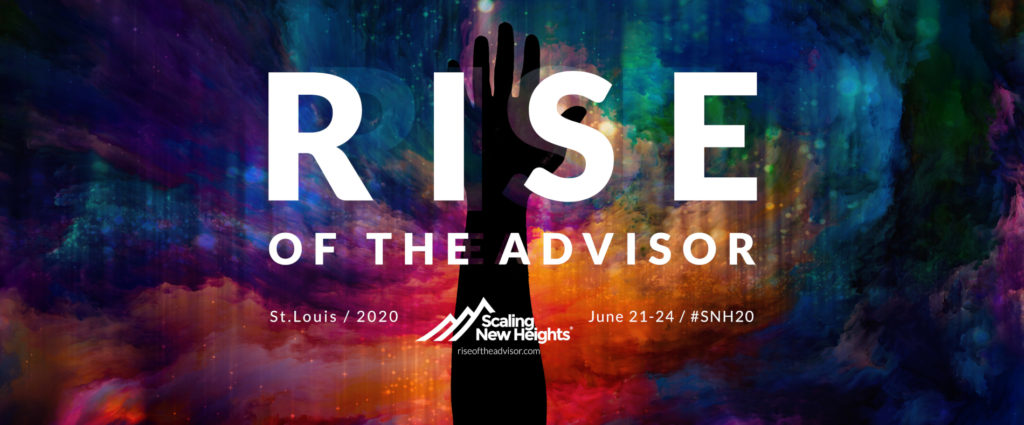"A mix of colors swirling around in the background. Above those colors is a silhouette of an arm. Above that is white text that reads out ""Rise of the Advisor - St. Louis / 2020"""